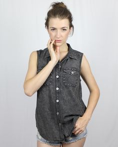 Evil Twin Anxiety Sleeveless Denim Shirt - New Arrivals - Clothing - This shirt is the overdyed charcoal colour and amazing studded stones to help you bring the grunge look to your wardrobe without looking over the top!