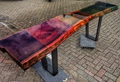 Sample console made from elm with different colours of tranparent liquid gloss Designed and produced nu ccoating