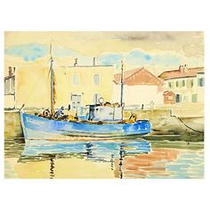 Pre-Owned Harbor Reflections C. 1940 ($225) ❤ liked on Polyvore featuring home, home decor, wall art, white wall art, fishing home decor, fishing paintings, water vessel and fishing wall art