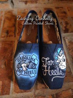 UNC Tar Heels Toms Shoes by ZacharyConnellyArt