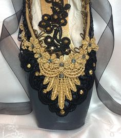 Black and Gold Satanella themed pointe shoe. by DesignsEnPointe Pointe Shoes, Toe Shoes, Ballerina Shoes, Ballet Shoes, Spanish Dancer Costume, Ballet Decor, The Dancer, Shoe Crafts, Decorated Shoes