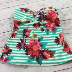 9.64$  Watch now - http://vilcf.justgood.pw/vig/item.php?t=vo237y11881 - Raisins Tankini Top Swimwear Sz Small Teal Striped Daisy Strapless Padded Bikini