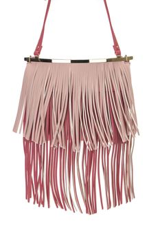 Double Layers Of Fringe And Metal Bar Accented Messenger Bag #GetEverythingElse #MessengerCrossBody