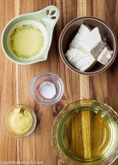 homemade vegan mayo: 4 oz soft silken tofu, 2 tsp fresh lemon juice, 2 tsp Dijon mustard, 1 cup vegetable oil, Kosher salt, and a blender.