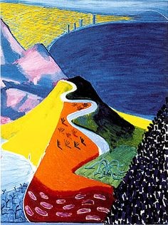 David Hockney - Malibu 1993 coming from the north, this is how you enter the LA area and into LAX David Hockney Landscapes, David Hockney Art, David Hockney Paintings, Jackson Pollock, Landscape Art, Landscape Paintings, Pop Art Movement, Willem De Kooning, Art Abstrait