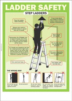 Using a ladder requires educated caution. Learn more with these ladder safety tips! Safety Talk, Safety Meeting, Safety Rules, Workplace Safety Tips, Office Safety, Health And Safety Poster, Safety Posters, Safety Pictures, Safety Ladder