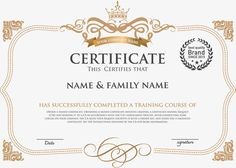 European style horizontal version of the certificate, Diploma, Training Certificate, Certificate Template PNG and Vector Certificate Of Recognition Template, Certificate Layout, Certificate Background, Certificate Of Achievement Template, Certificate Design Template, Award Certificates, Training Certificate, Tafsir Coran, Wedding Invitation Background