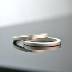 Matte Sterling Silver Diamond Ring Set