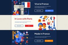 Travel to France - Banners Set. Travel Infographics. $8.00