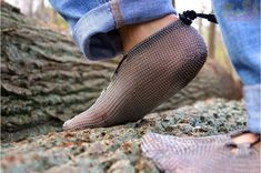 PaleoBarefoot Steel Shoes - When hippies attend Medieval Clothing 101, these minimalistic steel crocheted shoes are the result. Created to provide the safest alternative to wearing shoes but still maintaining the feeling that you are completely barefoot.