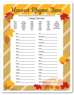 Thanksgiving game - Harvest Rhyme