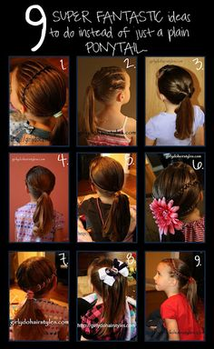 Girly Do's By Jenn: 9 Ideas to Dress up Your Ponytail by rena Little Girl Hairstyles, Hairstyles For School, Pretty Hairstyles, Girl Hair Dos, Hair Doo, Hair Designs, Hair Hacks, Ponytail, Hair Makeup