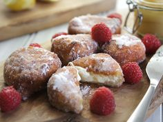 Lemon Ricotta Fritters with Lemon Curd and Fresh Raspberries Recipe ...