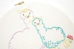 Mamma & Baby Alpaca embroidery by wildolive, via Flickr