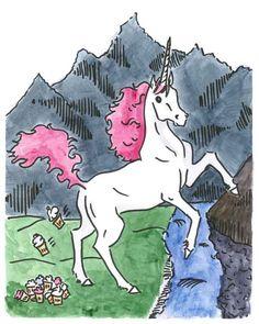 Unicorn Pooping Cupcakes 8x10 funny fine art print. $18.00, via Etsy.