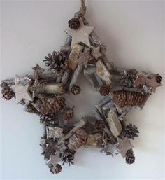 This unique 15 inch wooden drift wood festive star wreath is full of mini cones, wooden pieces and stars. Flowers by Kirsty will be selling them at the White Christmas Fair on December 8th!