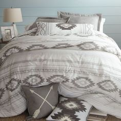 Create a light and airy bedroom with tranquil hues of grey and white in an all-over diamond and stripe pattern. The comforter set includes a comforter, two shams, and a solid grey bedskirt (twin has one sham). More at Rods Western Palace Airy Bedroom, Bedding Master Bedroom, Bedroom Decor, Dream Bedroom, Bedroom Ideas, Rustic Bedding Sets, Western Bedding, Western Comforter Sets, Country Bedding Sets