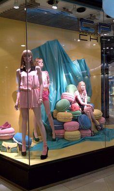 pastel macaroons window display