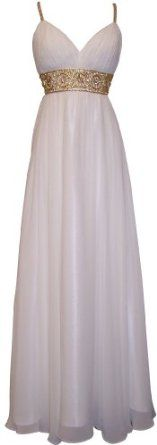 Greek Goddess Chiffon Starburst Beaded Full Length Gown Prom Dress Junior Plus Size $149