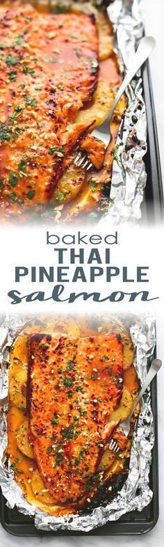 Baked Thai Pineapple Salmon in Foil is a delicious, easy, 30-minute meal bursting with flavor! | http://lecremedelacrumb.com