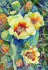 Watercolor Batik Art - Cactus Splendor II by Hailey E Herrera