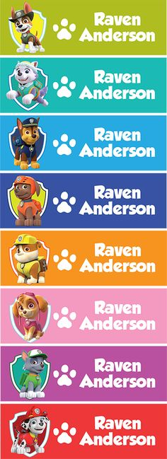 Set of 68 Personalized name back to school cute design stickers paw patrol theme