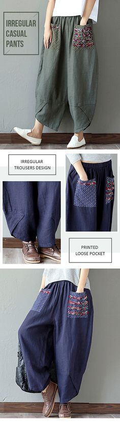 US$ 28.23 Casual Print Patchwork Loose Irregular Pants For Women