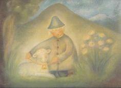 Jongen met schaap , Poster- MijnHemeltje.nl