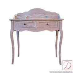 Sekretär NATURA Schreibtisch weiß 87x43 cm Landhausstil - Schicker Sekretär, Schreibtisch aus solidem Holz gefertigt, in weiß mit 2 kleinen Schubladen und kleiner Ablagefläche.