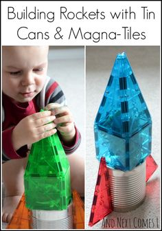 Building Rockets with Tin Cans & Magna-Tiles - - Using magnets to build rockets to explore a space unit with toddlers and preschoolers. Space Theme Preschool, Space Activities For Kids, Toddler Activities, Preschool Activities, Space Theme For Toddlers, Educational Activities, Toddler Preschool, Preschool Rocket, Preschool Science