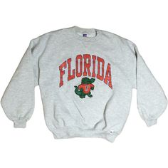 80s Florida Gators Sweatshirt UF Crewneck Pullover Sweatshirt Grey... ($58) ❤ liked on Polyvore featuring tops, hoodies, sweatshirts, russell athletic sweatshirt, pullover sweatshirt, blue top, crew neck pullover and crewneck sweatshirt