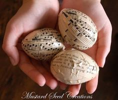 11 Sheet Music Craft Ideas including these sheet music eggs ...