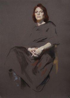 портрет. пастель. тонированная бумага