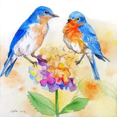 Original Blue Bird Watercolor - by asho on Etsy