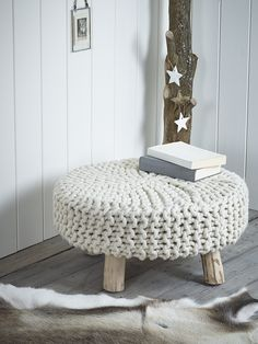 NEW Chunky Knit Footstool