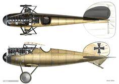 Plane Drawing, Dog Fighting, Parasol, Luftwaffe, World War I, 21st Century, Aircraft, Germany, Profile