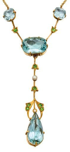 An Art Nouveau gold, aquamarine, demantoid garnet and pearl necklace, Duggin, Shappere & Co., Melbourne, early 20th century. With maker's mark for Duggin, Shappere & Co. #DugginShappere #ArtNouveau #necklace