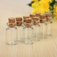 Sada 10 ks malých skleněných lahviček s korkovým uzavíráním