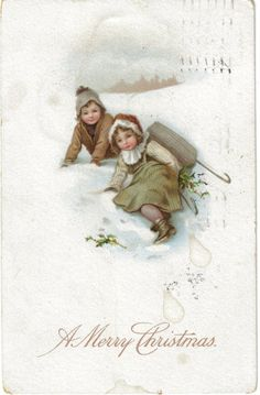 Vintage postcard.  A Merry Christmas.  Two children tumble from their sled in the snow.
