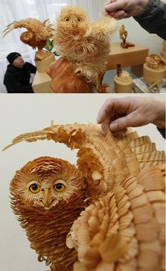 I originally viewed this man's work from a link on facebook provided by www.logcabindirectory.com. The sculpture was created by artist Sergey Bobkov - made from cutting chips from Siberian Cedar. Amazing detail!