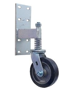 "Heavy duty spring loaded Gate Caster 6"" x 2"" Rubber on Aluminum Wheel"