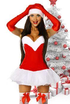 Sexy Weihnachts Santa Kleid Damen Weihnachtskostüm Weihnachtskleid Gr:OS 12178