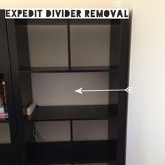 http://thriftea.co.uk/2014/09/07/expedit-divider-removal-ikea-hack/