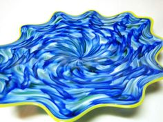 Hand Blown Glass Art Platter Bowl Wall Hanging 86 | eBay