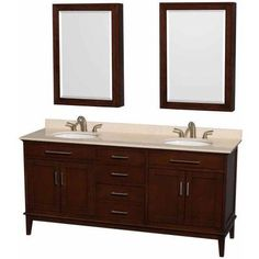 Wyndham Collection Hatton 72 inch Double Bathroom Vanity in Dark Chestnut, Ivory Marble Countertop, Undermount Oval Sinks, and Medicine Cabinets, Brown
