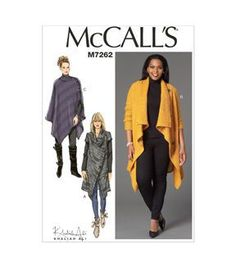 Mccall Pattern M7262-Rr0-Misses'/Women'S Sweater Coat And Poncho-18W-20W-22W-24W