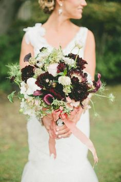 Purple, green, and white bridal bouquet    Onelove Photography   see more on: burnettsboards.co...