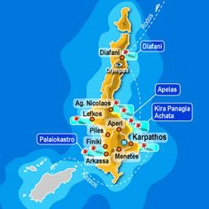 Map of Karpathos Greece and its beaches