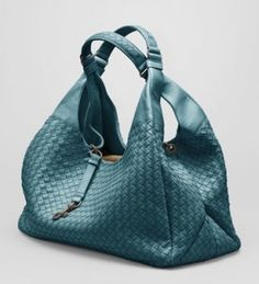 Bottega Veneta Teal Nappa Campana Bag #handbags #bottegaveneta