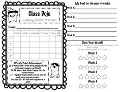 Class Dojo Weekly Behavior Tracker #class dojo #freebie